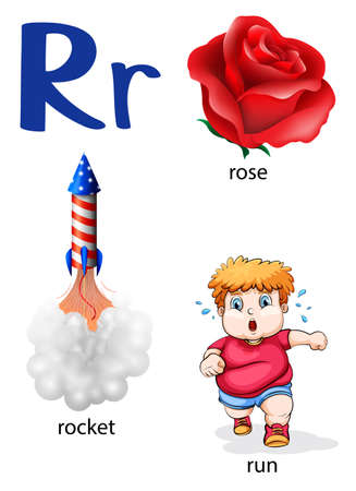 R: Things that start with the letter R on a white background Illustration