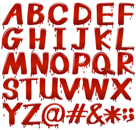 liquid g: Letters of the alphabet in bloody fontstyle on a white background