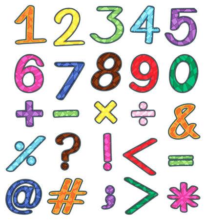 흰색 배경에 숫자와 수학 연산의 다채로운 세트 일러스트