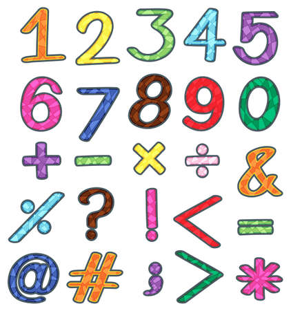 Kleurrijke sets van getallen en wiskundige bewerkingen op een witte achtergrond Stock Illustratie