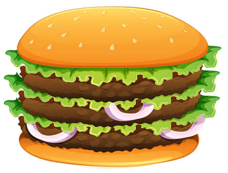 ground beef: Big hamburger with sesame seeds on a white background Illustration
