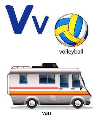 fueled: Letter V for volleyball and van on a white background