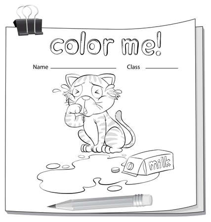 spilt: Coloring worksheet with a crying cat over a spilt milk on a white background