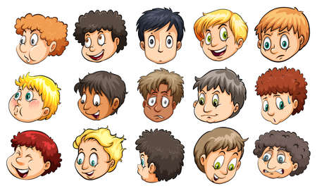 Heads of young boys with different facial expressions on a white background Illustration