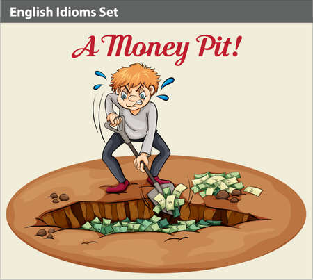 A poster with an English idiom showing the wealth at the pit Illustration