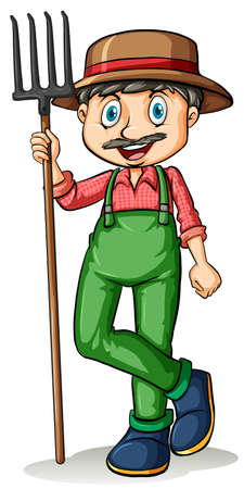 loosening: Man with a mustache holding a rake on a white background