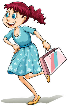 teenage girl dress: Lady with a shopping bag on a white background