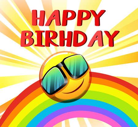 Plantilla del feliz cumpleaños con un sol y un arco iris sobre un fondo blanco Foto de archivo - 37450484