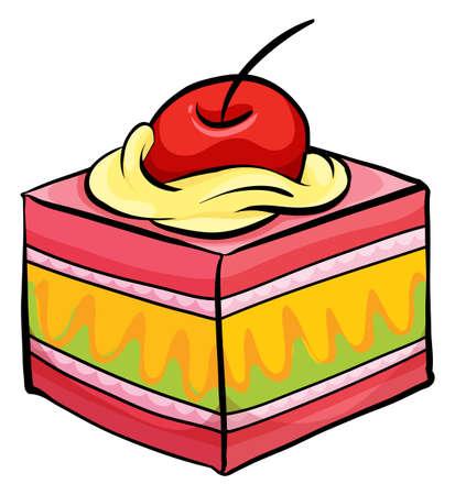 porcion de pastel: Pieza colorida de la torta con un alegre sobre un fondo blanco