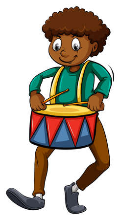 dark complexion: Man with a drum on a white background