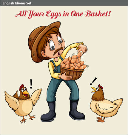 Poster with an English idiom showing a farmer holding a basket of eggs