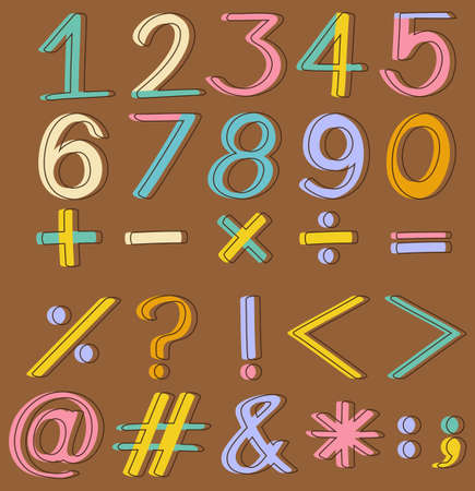 Set of numbers and mathematical operations on a brown background Vector