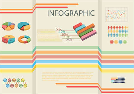 concise: Infographic showing the statistics of people with bar graphs Illustration