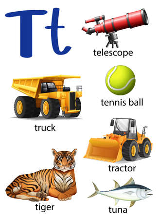t background: Letter T for telescope, truck, tennis ball, tractor, tiger and tune on a white background