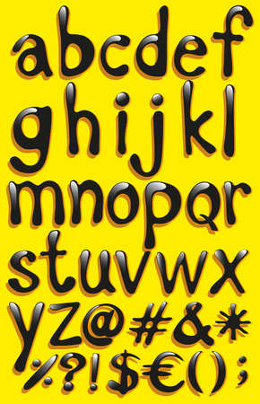 s c u b a: Small letters of the alphabet on a yellow background