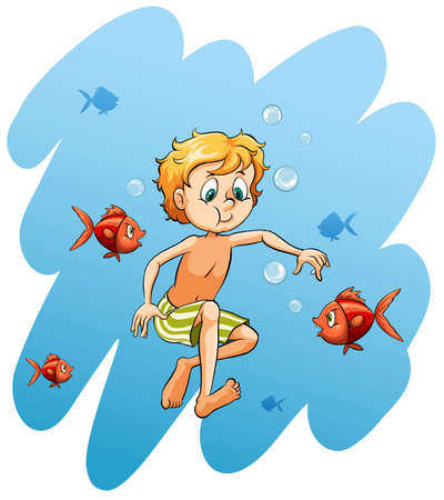 man underwater: Young boy surrounded with fishes on a white background Illustration