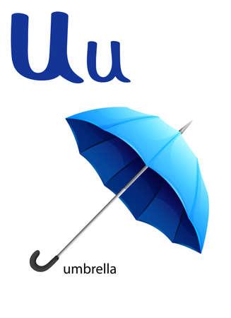 vowel: Letter U for umbrella on a white background