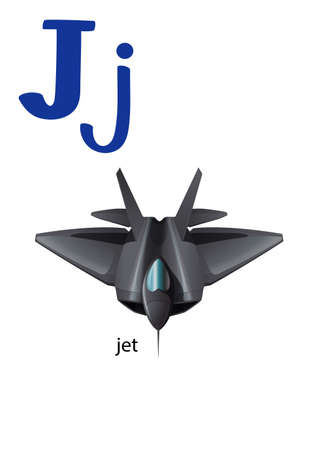 Letter J for jet on a white background Vector