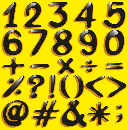 operations: Jeu de chiffres num�riques et des op�rations math�matiques sur un fond jaune
