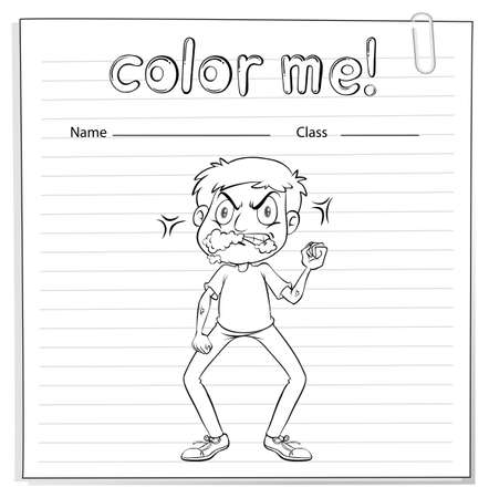 talkative: Coloring worksheet with a talkative man on a white background