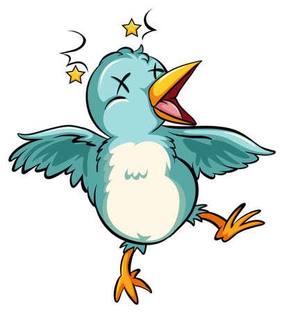 mobbing: Blue baby bird on a white background