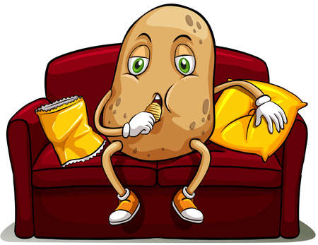 couch: Couched potato on a red sofa eating on a white background