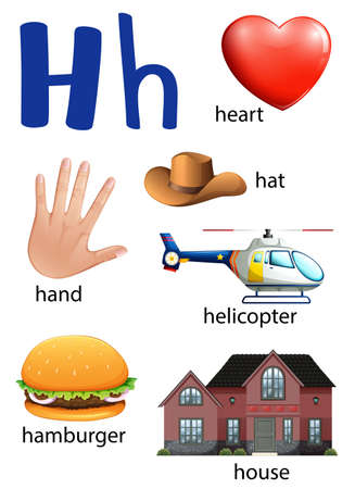 h: Things that start with the letter H on a white background