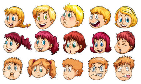 naught: Group of human heads with different facial expressions on a white background