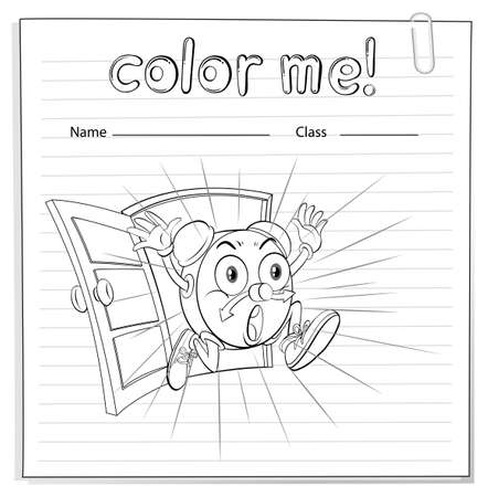 Coloring worksheet with a clock escaping on a white background