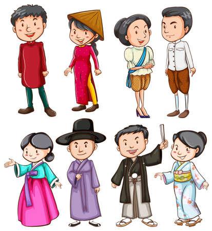 Grupo de personas que muestran la cultura asiática en un fondo blanco