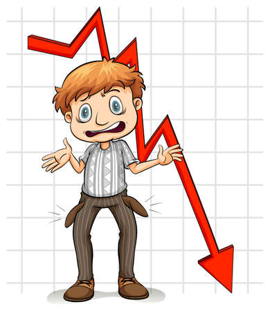 poor man: Graph showing a poor man on a white background Illustration