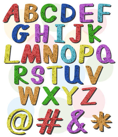 capitalized: Colorful big letters of the alphabet on a white background