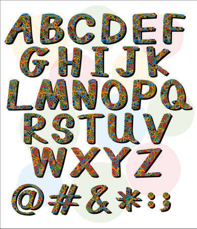 capitalized: Big letters of the alphabet with artwork on a white background Illustration