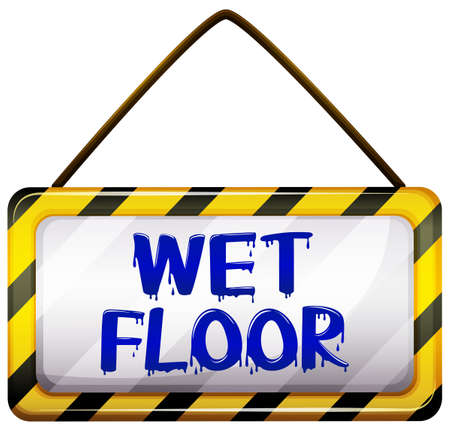 wet floor: Wet floor signboard on a white background Illustration