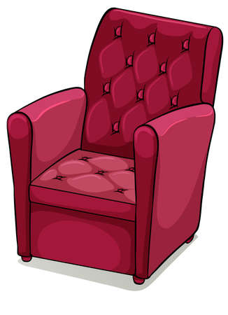 armrests: Red comfortable chair furniture on a white background