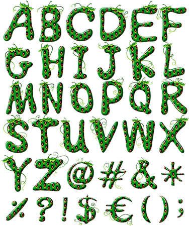 capitalized: Capital letters of the alphabet in green color on a white background