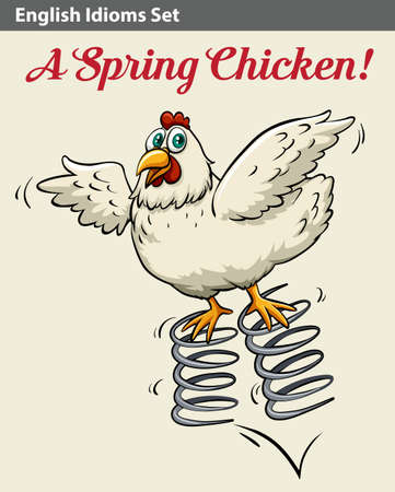 idiom: Poster with an English idiom showing a spring chicken Illustration