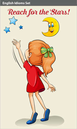 english girl: Poster with an English idiom showing a girl reaching the stars