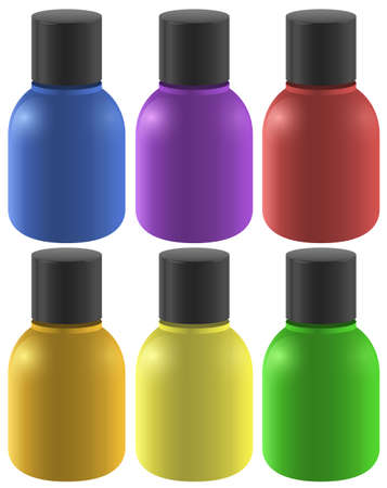 many coloured: Six colourful ink bottles on a white background