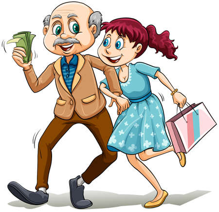 woman holding money: Young lady with her sugar daddy on a white background