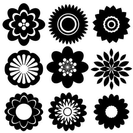 silhouette fleur: Ensemble de modèles floraux de couleur noire sur un fond blanc