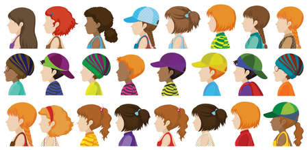 beings: Sideview of the different faces of human beings on a white background Illustration