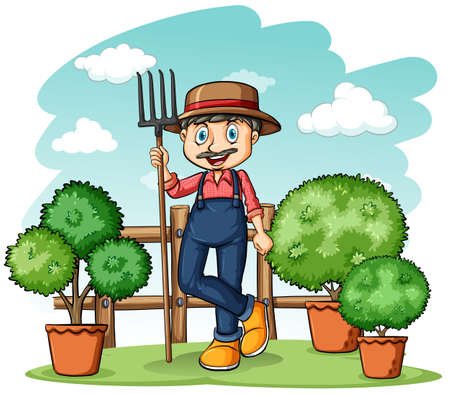 loosening: Happy gardener holding a rake on a white background Illustration