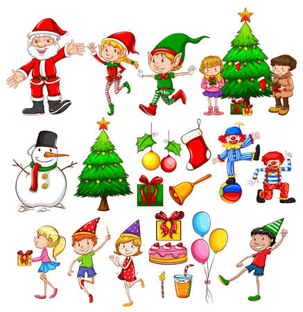 partying: Christmas party celebration on a white background