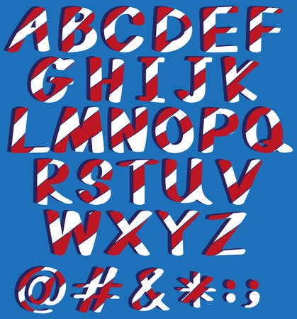 capitalized: Capital letters of the alphabet on a blue background Illustration