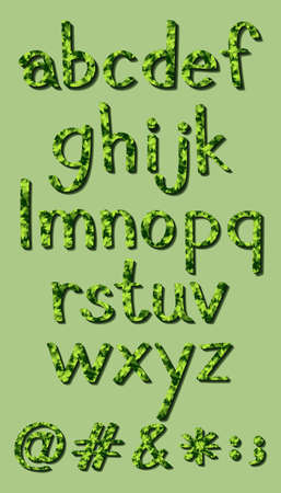 capitalized: Small letters of the alphabet in green colors Illustration