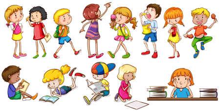 ni�os jugando en la escuela: Los ni�os que participan en diferentes actividades sobre un fondo blanco Vectores