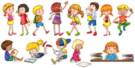 Kids engaging in different activities on a white background Illustration