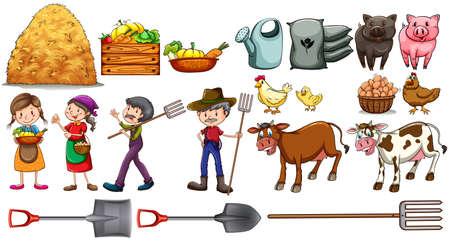 granja avicola: Los agricultores con su conjunto de herramientas y animales de granja en un fondo blanco Vectores