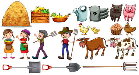Farmers with their set of tools and farm animals on a white background